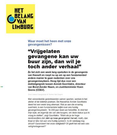 Lees hier het interview met Anniek en Minister van Justitie Koen Geens (Het Belang van Limburg).